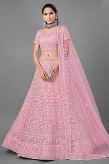 Picture of Graceful Pink Colored Designer Net Lehenga Choli