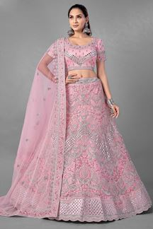 Picture of Aspiring Pink Colored Designer Net Lehenga Choli
