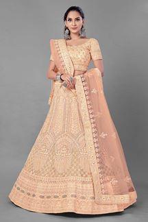 Picture of Superb Peach Colored Designer Net Lehenga Choli
