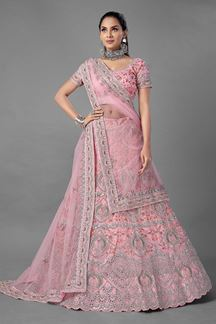 Picture of Eye-catching Pink Colored Designer Net Lehenga Choli