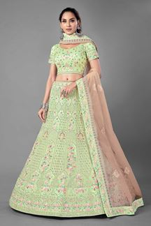 Picture of Charming Pista Green Colored Designer Net Lehenga Choli