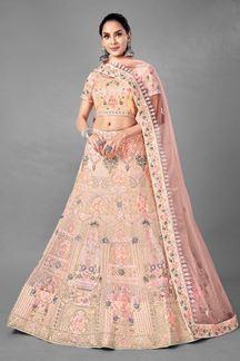 Picture of Stunning Peach Colored Designer Net Lehenga Choli