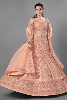 Picture of Superb Peach Colored Designer Lehenga Choli