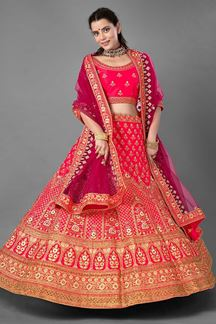 Picture of Glamorous Pink Colored Designer Satin Lehenga Choli
