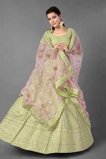 Picture of Simplicity Pista Green Colored Art Silk lehenga Choli
