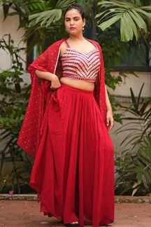 Picture of Red Colored Designer Crop Top Palazzo Suit