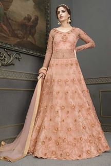 Picture of Bridal Designer Party Wear Peach Colored Gown Suit (Unstitched gown)