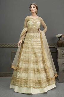 Picture of Bridal Designer Party Wear Cream Colored Gown Suit (Unstitched gown)