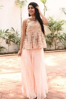 Picture of Designer Partywear Pink Colored Palazzo Suit