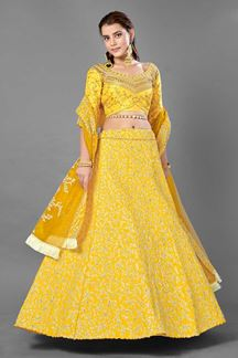 Picture of Charming Yellow Colored Art Silk Lehenga Choli