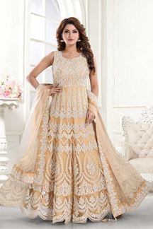 Picture of Eye-catching GoldenColored Partywear Embroidered Net Anarkali Suit