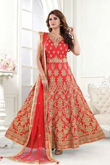 Picture of Awesome Red Colored Designer Embroidered Silk Anarkali Suit