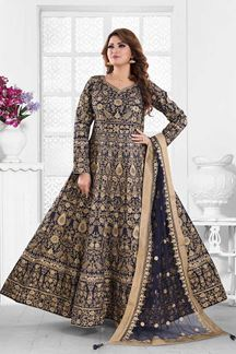 Picture of Opulent Navy Blue Colored Party Wear Embroidered Silk Anarkali Suit
