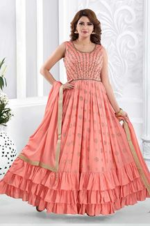 Picture of Groovy Peach Coloured Partywear Anarkali Suit