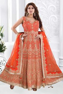 Picture of Pleasance Light Orange Colored Partywear Embroidered Anarkali Suit