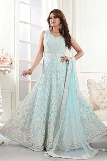 Picture of Exceptional Light Blue Colored Partywear Embroidered Net Anarkali Suit