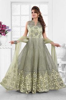 Picture of Exceptional Pastal Green Colored Partywear Embroidered Anarkali Suit