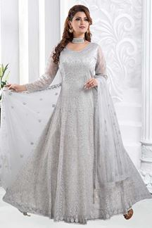 Picture of Magnetic Grey Colored Partywear Embroidered Net Anarkali Suit