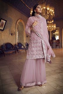 Picture of Latest Designer Baby Pink Colored Gharara Suit (Unstitched suit)