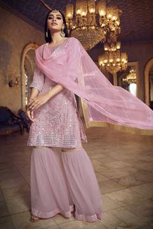 Picture of Baby Pink Colored Latest Designer Organza Gharara Suit (Unstitched suit)
