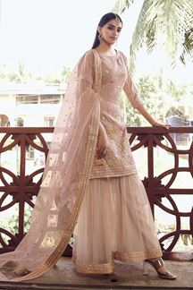 Picture of Latest Designer Peach Colored Organza Gharara Suit (Unstitched suit)