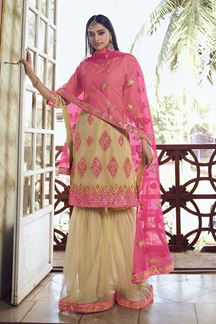 Picture of Beige Colored Latest Designer Organza Gharara Suit (Unstitched suit)