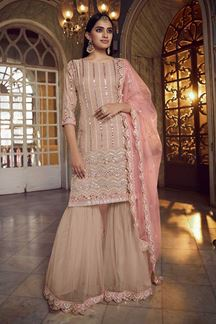 Picture of Peach Colored Latest Designer Organza Gharara Suit (Unstitched suit)