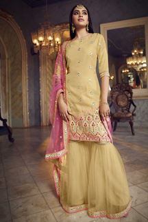 Picture of Latest Designer Beige Colored Organza Gharara Suit (Unstitched suit)
