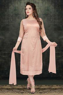Picture of Peach Colored Designer Straight Cut Churidar Suit