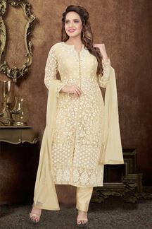 Picture of fancy Designer Beige Colored Pant Style Suit