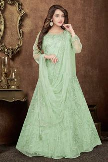 Picture of Charming Floor length Pista Green Colored Designer Suit
