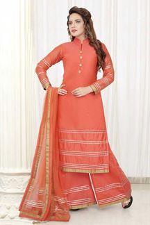 Picture of Orange Colored Designer Palazzo Suit