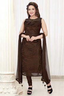 Picture of Stunning Brown Colored Designer Churidar Suit