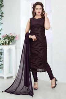 Picture of Stunning Wine Colored Designer Churidar Suit