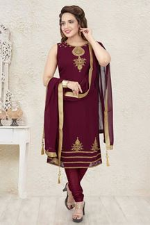 Picture of Embroider Maroon Colored Designer Churidar Suit