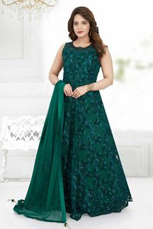 Picture of Festive Green Colored Designer Floor Length Suit