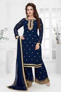 Picture of Navy Blue Colored Designer Palazzo Suit
