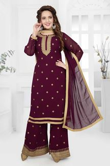 Picture of Wine Colored Festive Wear Georgette Palazzo Suit