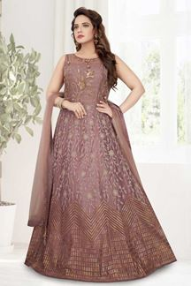 Picture of Alluring Onion Pink Colored Designer Anarkali Suit