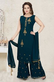 Picture of Refreshing Peacock Green Colored Designer Palazzo Suit