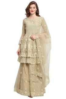 Picture of Ravishing Beige Colored Partywear Net Palazzo Suit (Unstitched suit)