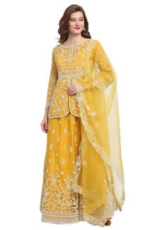 Picture of Adorning Yellow Colored Partywear Indo Western Suit (Unstitched suit)