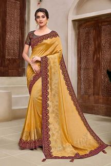 Picture of Blooming Yellow & Maroon Colored Designer Saree