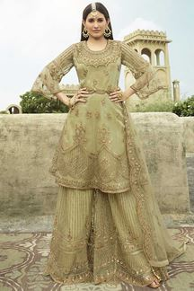 Picture of Dazzling Green Colored Net Palazzo Suit (Unstitched suit)