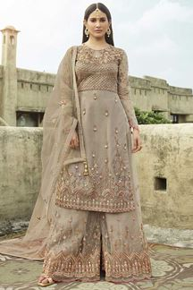 Picture of Sunshine With Beige Colored Palazzo Suit (Unstitched suit)