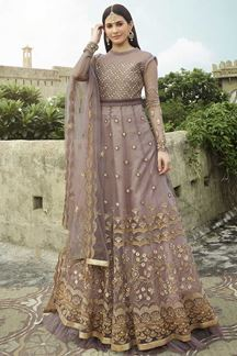 Picture of Designer Pink Colored Designer Gown Style Suit (Unstitched suit)