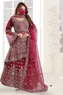 Picture of Red Colored Designer Embroidery Lehenga Choli