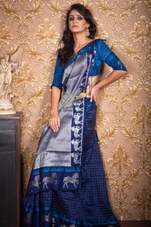 Picture of Blue Colored Festive Wear Soft Raw Silk Saree