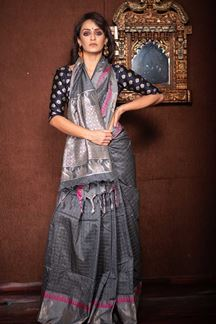 Picture of Grey Colored Festive Wear Soft Raw Silk Saree