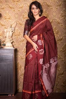 Picture of Brown Colored Festive Wear Soft Raw Silk Saree